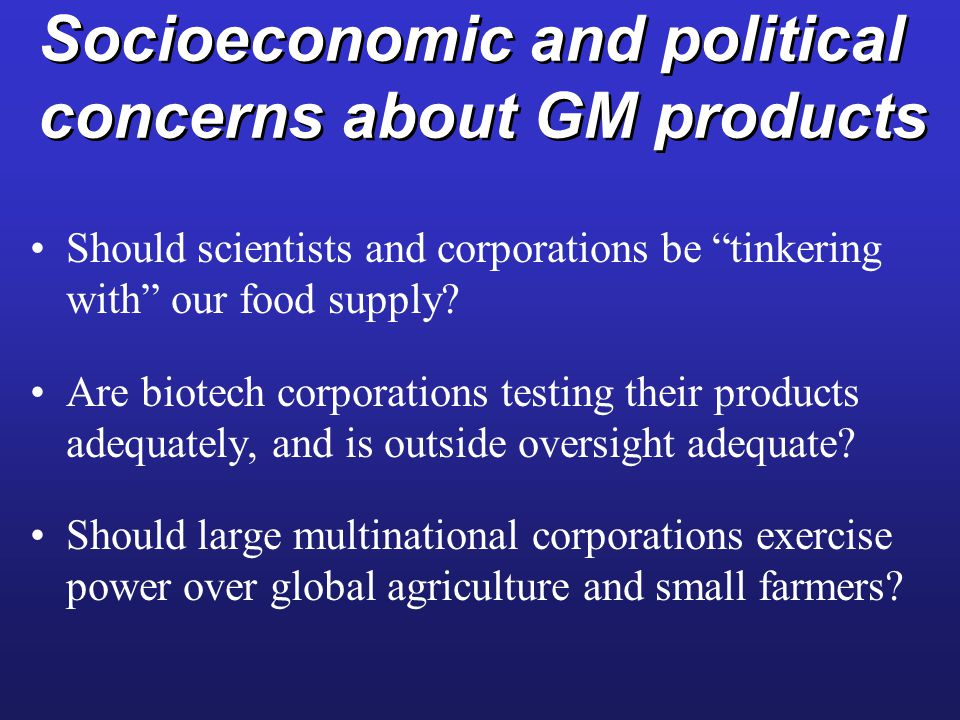 Socioeconomic and political concerns about GM products