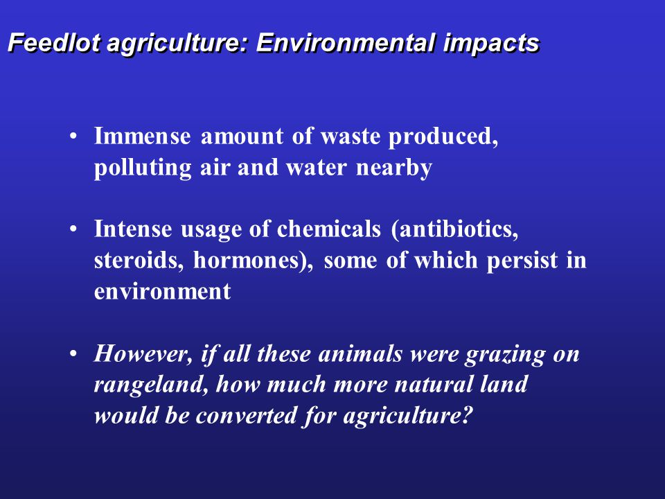 Feedlot agriculture: Environmental impacts