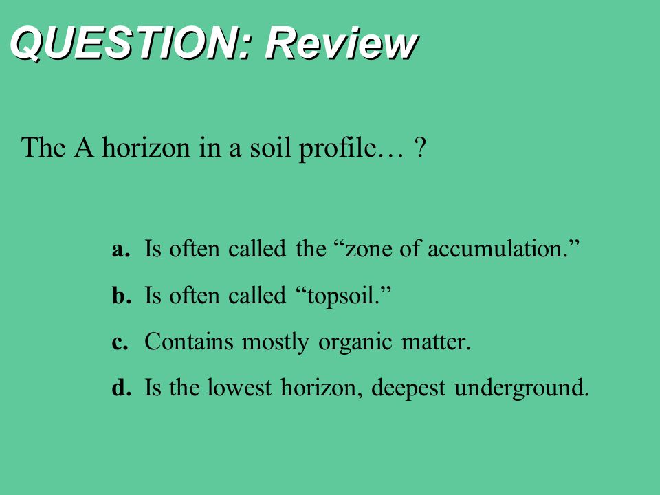 QUESTION: Review The A horizon in a soil profile…