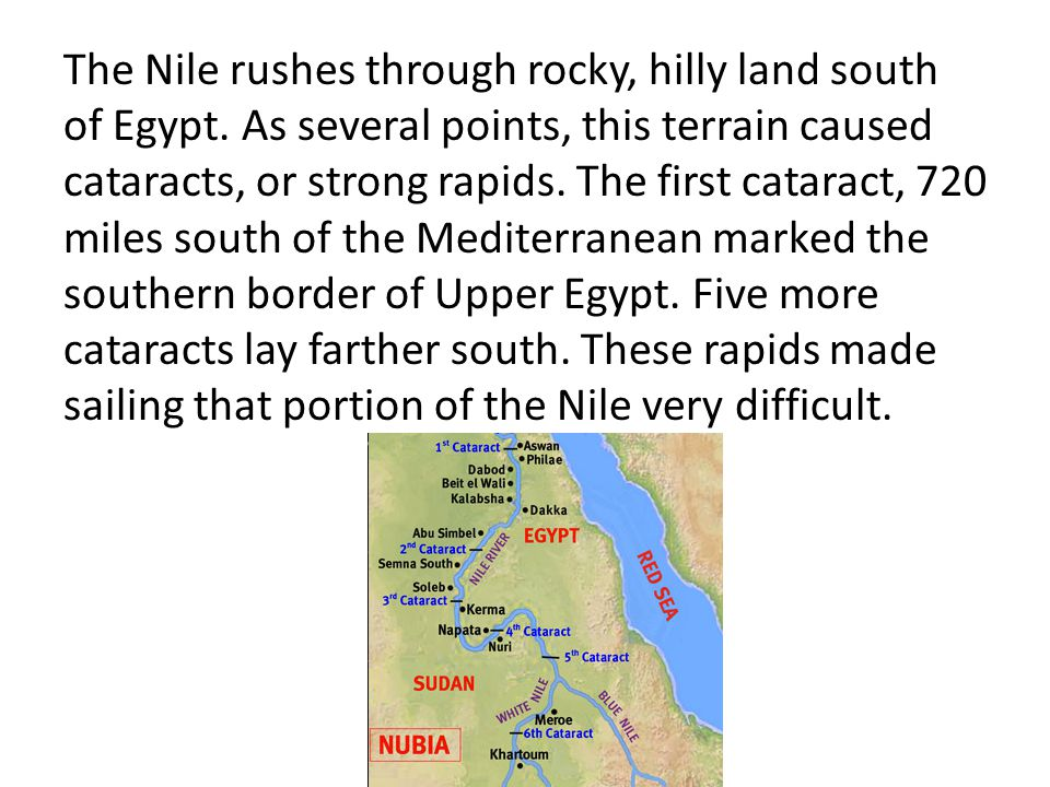 The Nile rushes through rocky, hilly land south of Egypt