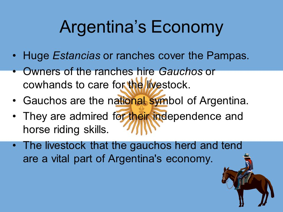 Argentina's Economy Huge Estancias or ranches cover the Pampas.