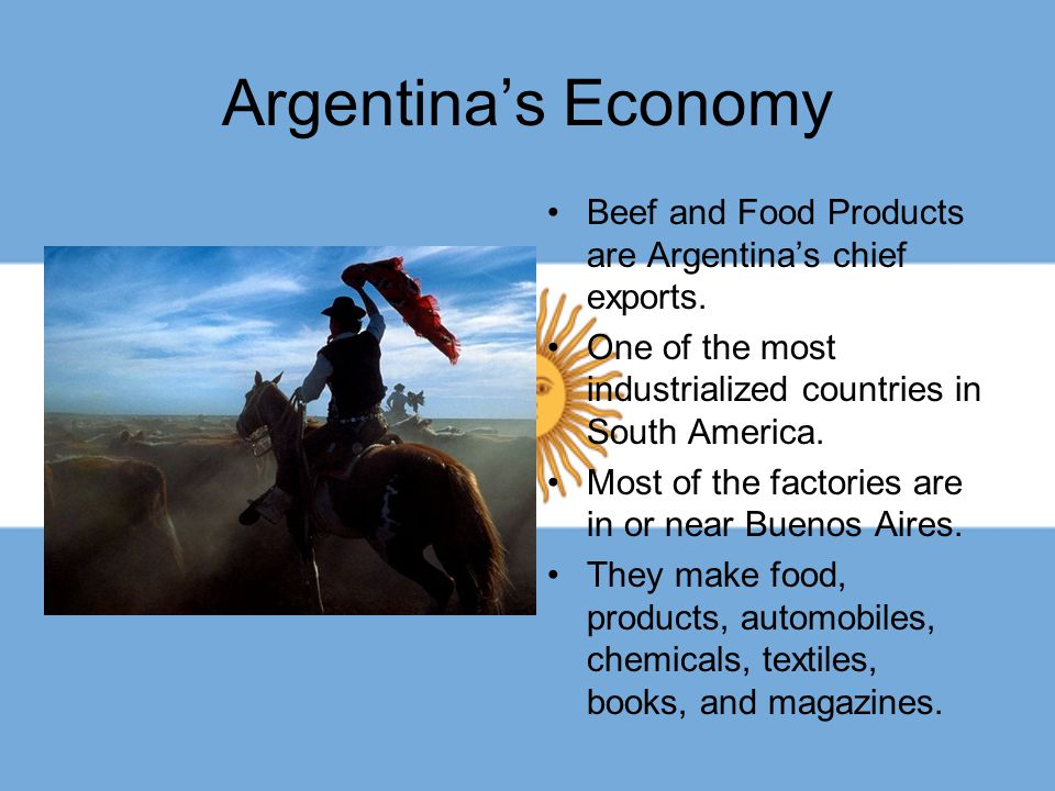Argentina's Economy Beef and Food Products are Argentina's chief exports. One of the most industrialized countries in South America.