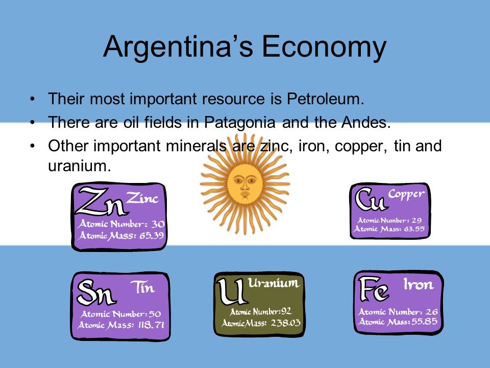 Argentina's Economy Their most important resource is Petroleum.