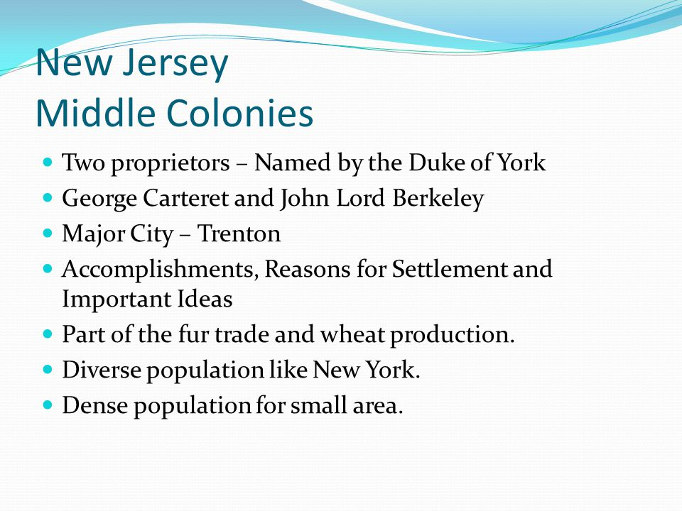 New Jersey Middle Colonies