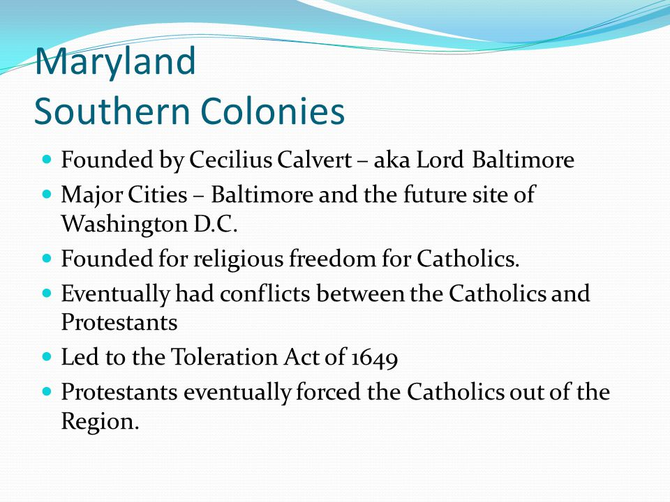 Maryland Southern Colonies