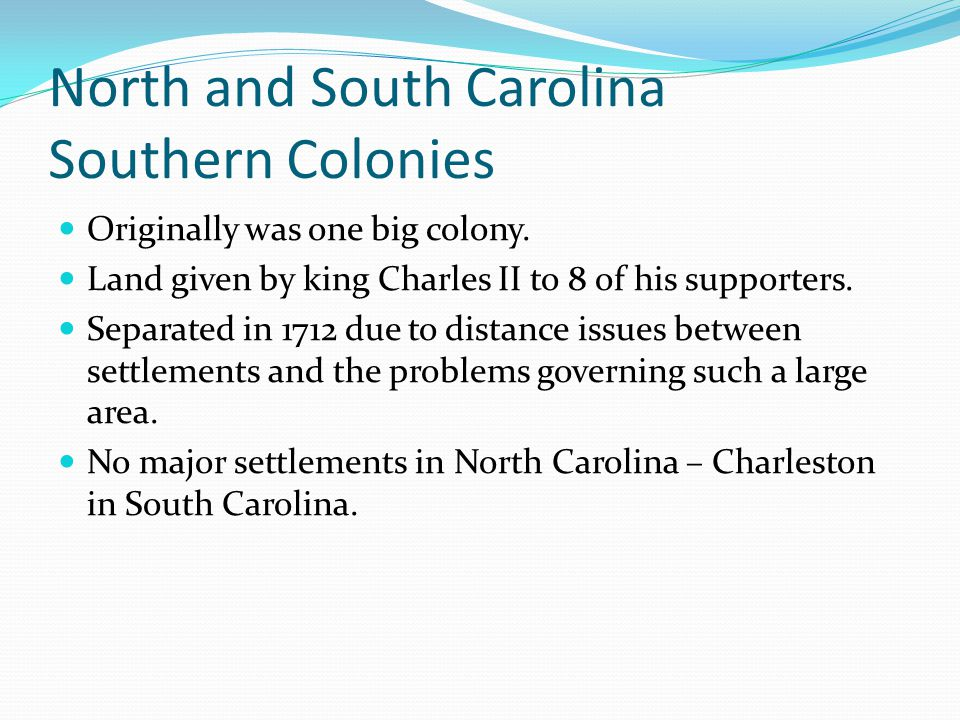 North and South Carolina Southern Colonies
