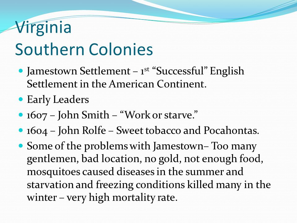 Virginia Southern Colonies