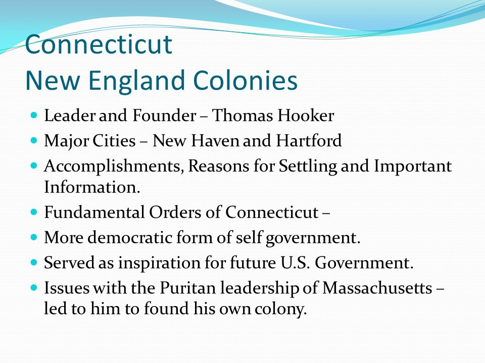 Connecticut New England Colonies