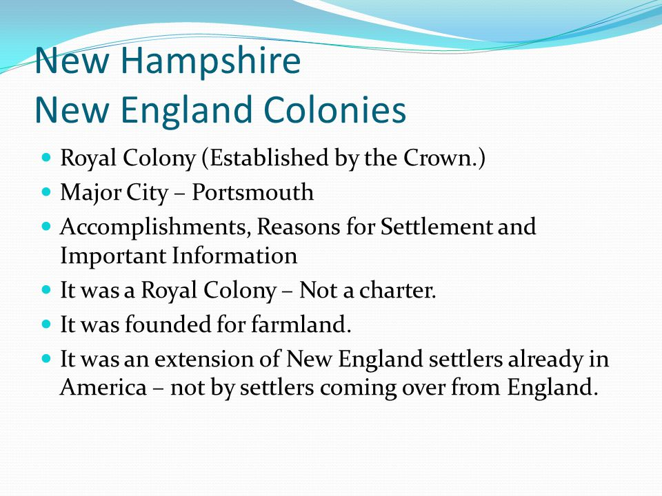 New Hampshire New England Colonies