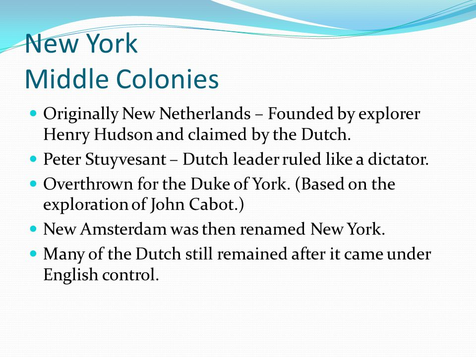 New York Middle Colonies