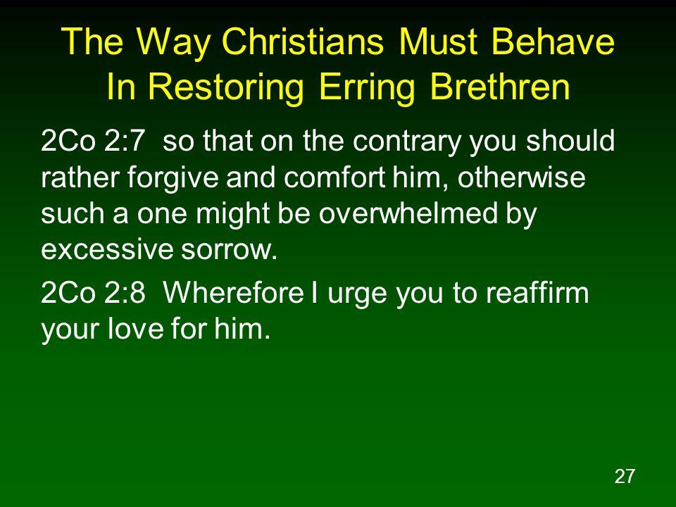 The Way Christians Must Behave In Restoring Erring Brethren