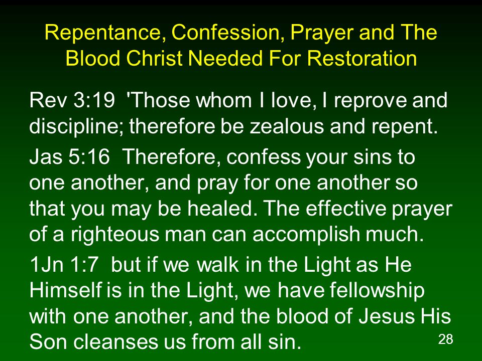 Repentance, Confession, Prayer and The Blood Christ Needed For Restoration