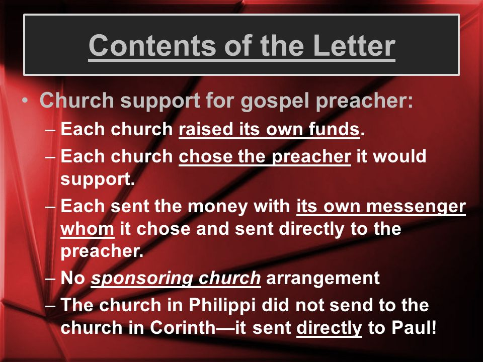 Contents of the Letter Church support for gospel preacher: