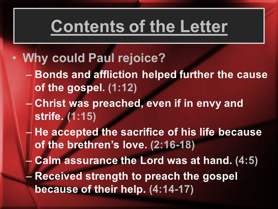 Contents of the Letter Why could Paul rejoice