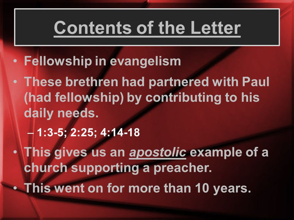 Contents of the Letter Fellowship in evangelism
