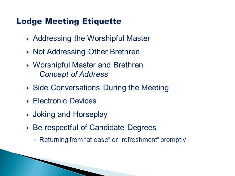 Lodge Meeting Etiquette