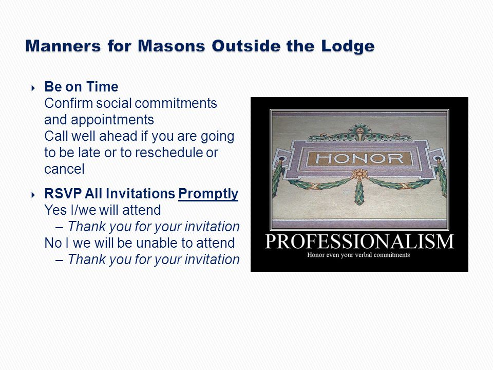 Manners for Masons Outside the Lodge