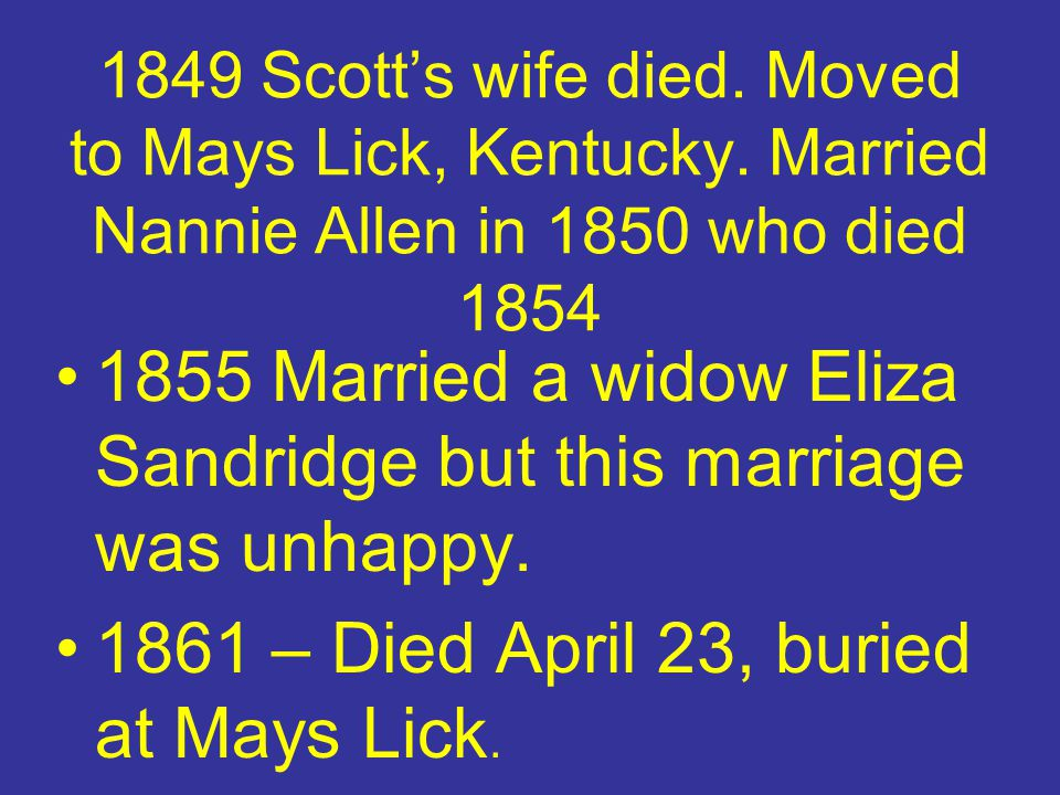1855 Married a widow Eliza Sandridge but this marriage was unhappy.