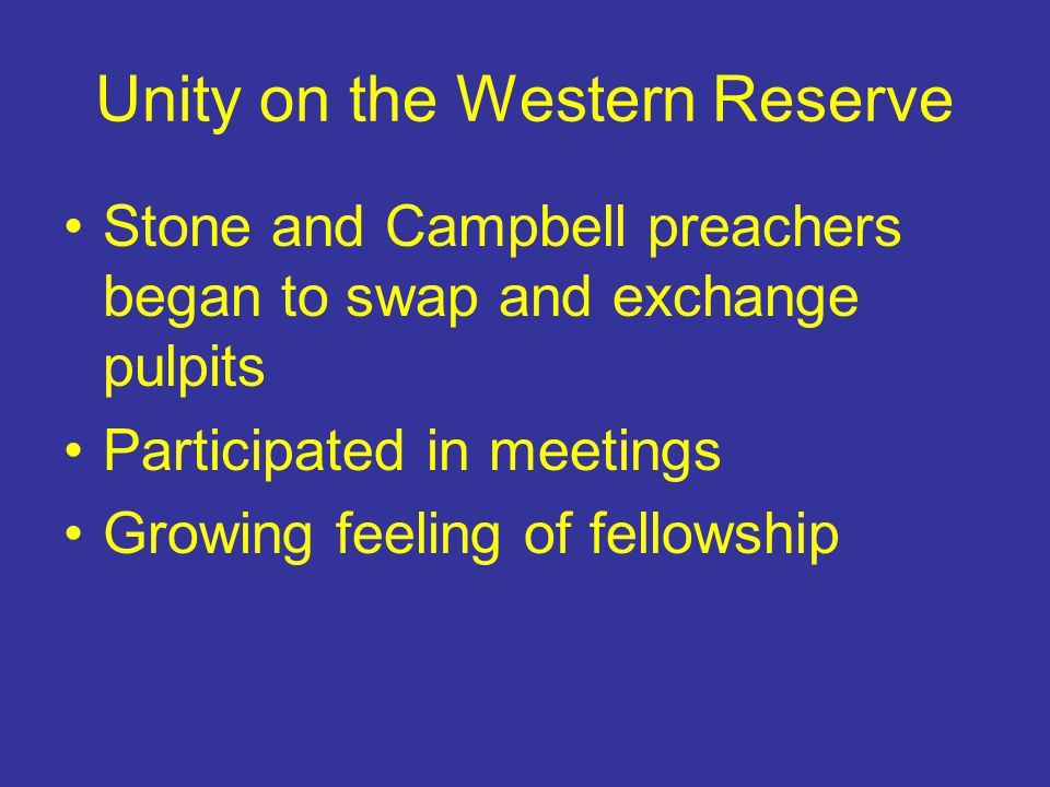 Unity on the Western Reserve