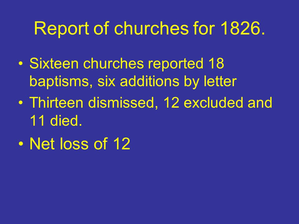 Report of churches for 1826. Net loss of 12