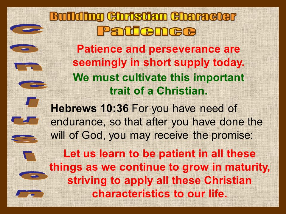 Building Christian Character Patience