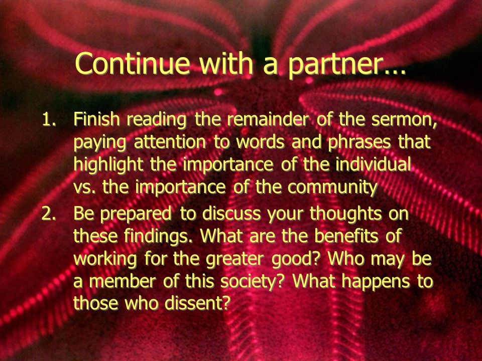 Continue with a partner…