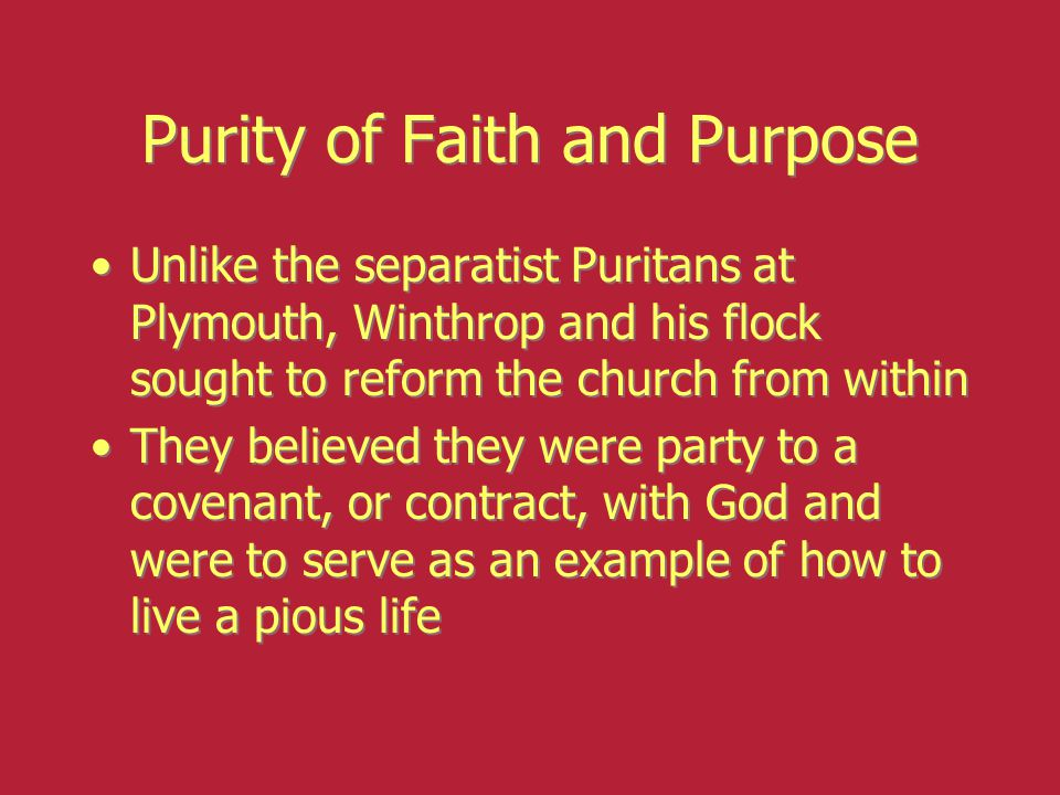 Purity of Faith and Purpose