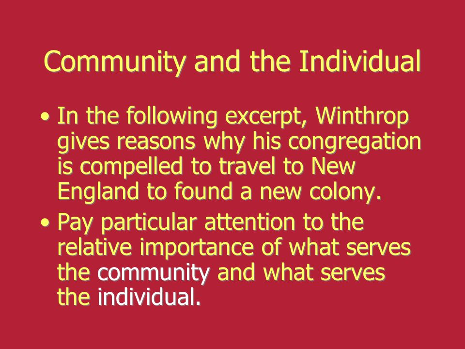 Community and the Individual