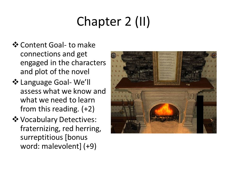 Chapter 2 (II) Content Goal- to make connections and get engaged in the characters and plot of the novel.
