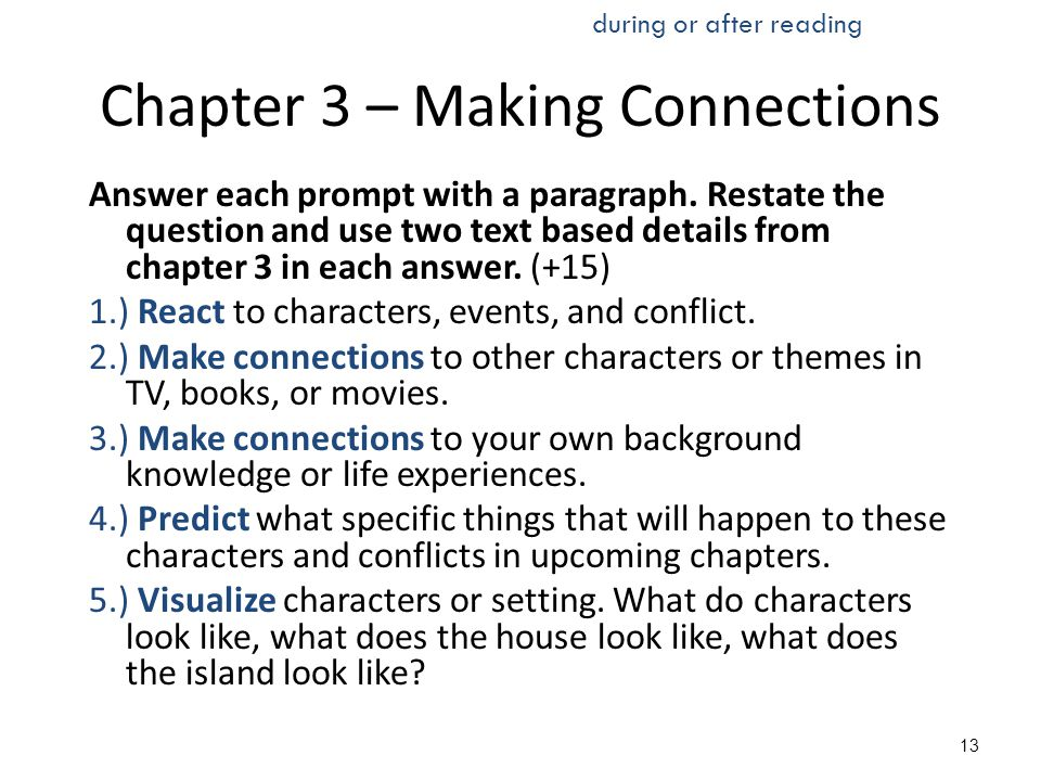 Chapter 3 – Making Connections