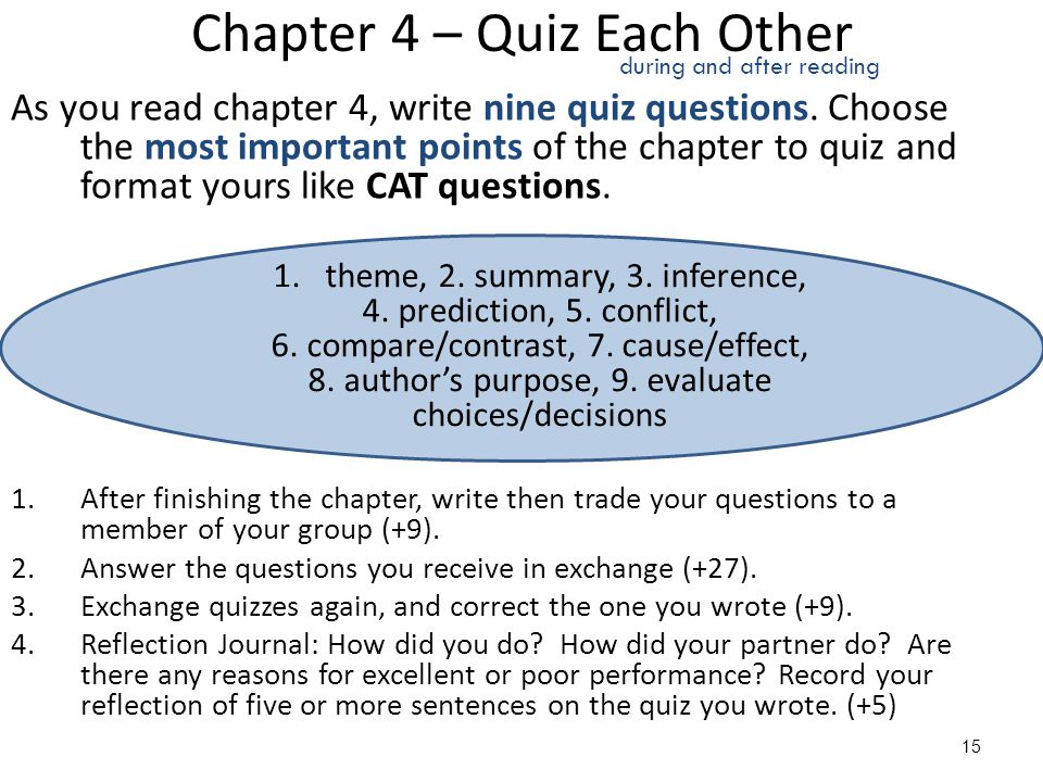 Chapter 4 – Quiz Each Other