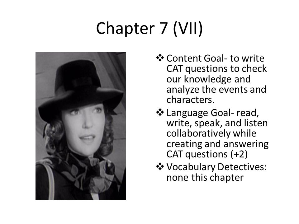 Chapter 7 (VII) Content Goal- to write CAT questions to check our knowledge and analyze the events and characters.