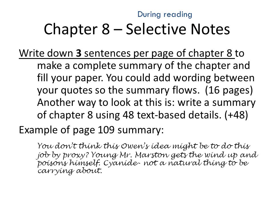 Chapter 8 – Selective Notes