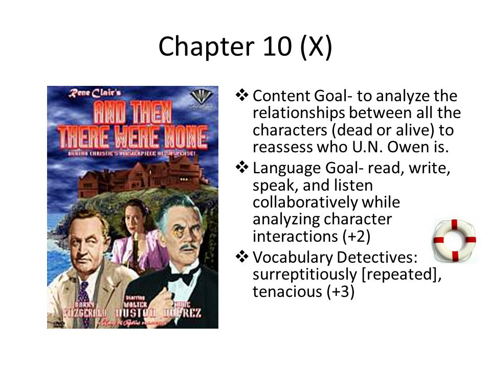 Chapter 10 (X) Content Goal- to analyze the relationships between all the characters (dead or alive) to reassess who U.N. Owen is.