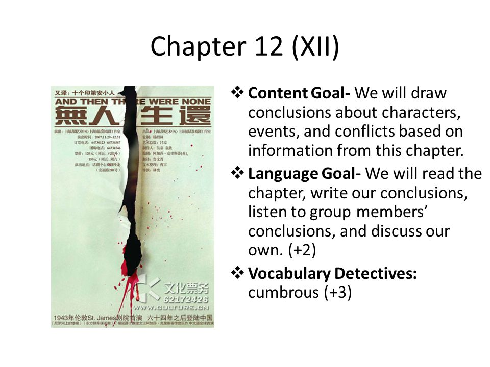 Chapter 12 (XII) Content Goal- We will draw conclusions about characters, events, and conflicts based on information from this chapter.