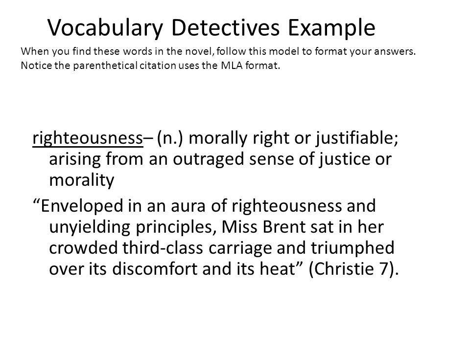 Vocabulary Detectives Example