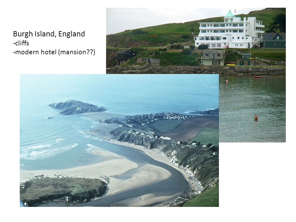 Burgh Island, England -cliffs -modern hotel (mansion )