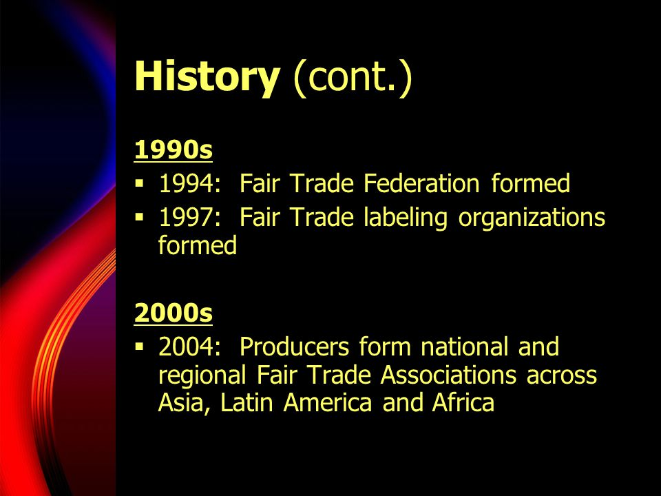History (cont.) 1990s 1994: Fair Trade Federation formed