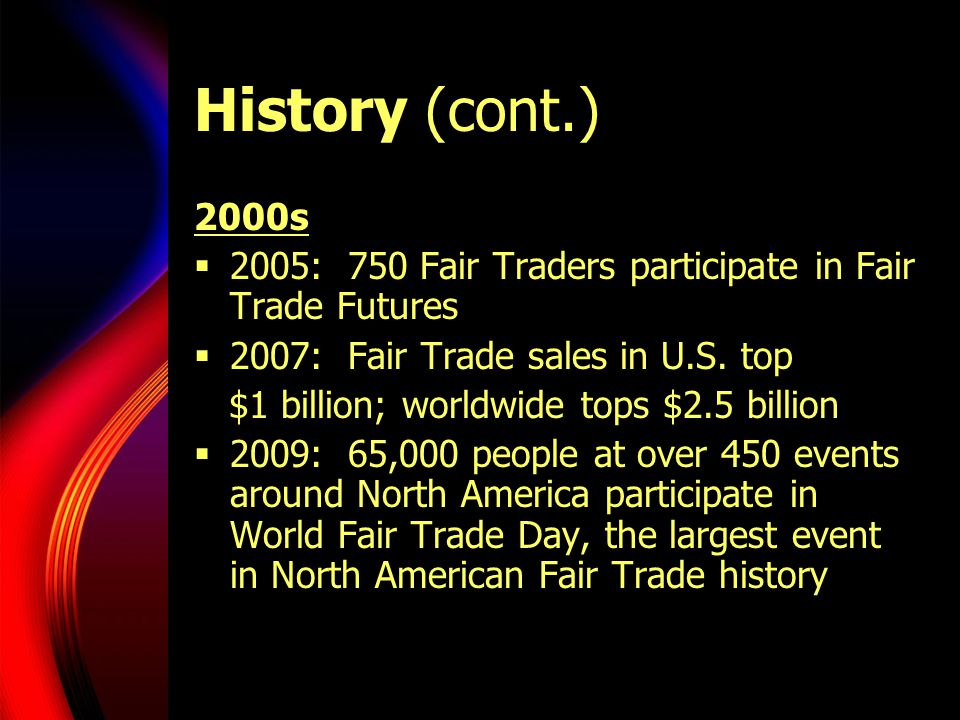 History (cont.) 2000s. 2005: 750 Fair Traders participate in Fair Trade Futures. 2007: Fair Trade sales in U.S. top.