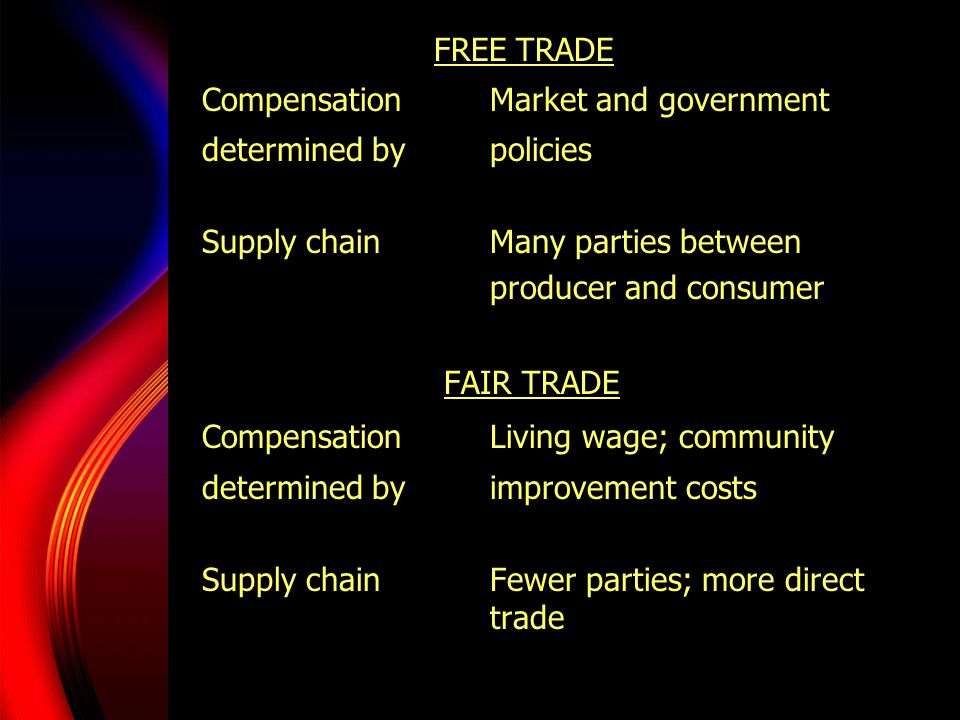FREE TRADE Compensation Market and government. determined by policies. Supply chain Many parties between.