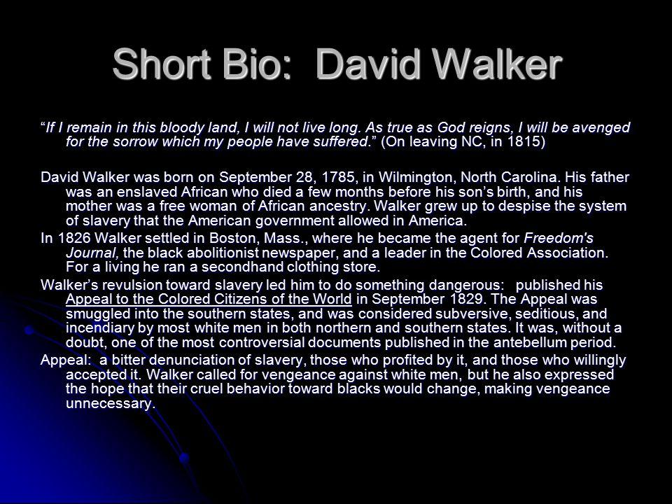 Short Bio: David Walker