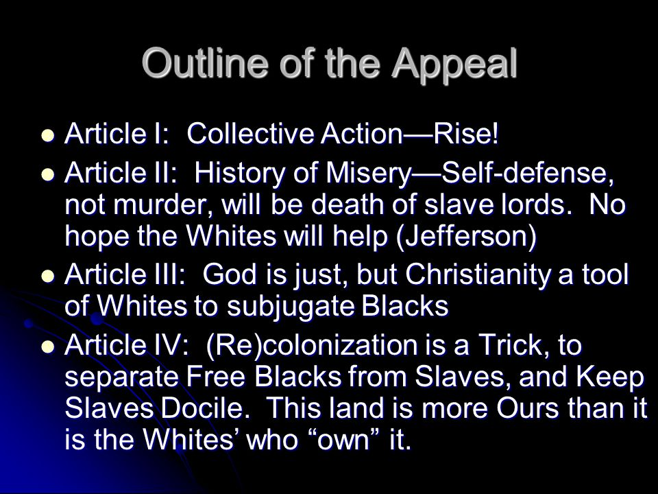 Outline of the Appeal Article I: Collective Action—Rise!