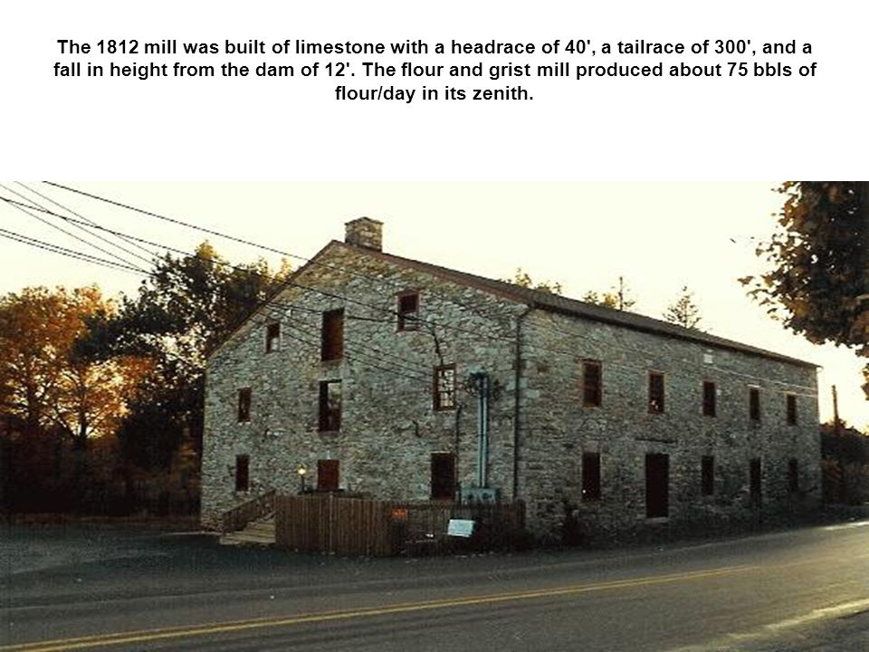 The 1812 mill was built of limestone with a headrace of 40 , a tailrace of 300 , and a fall in height from the dam of 12 .