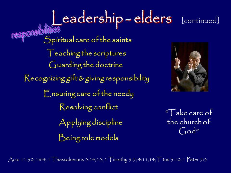 Leadership - elders responsibilities