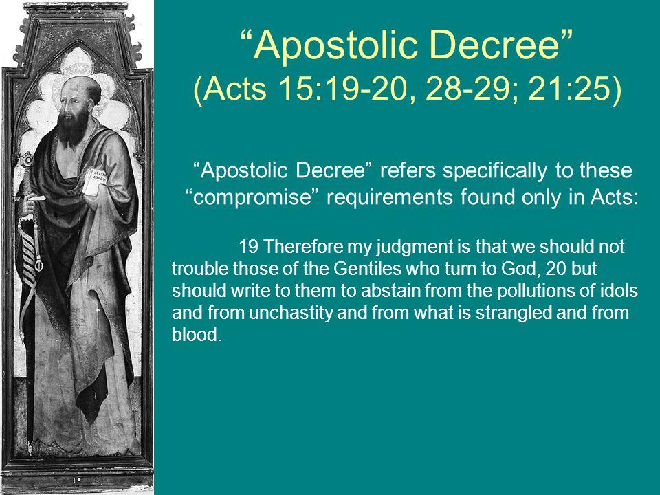 Apostolic Decree (Acts 15:19-20, 28-29; 21:25)