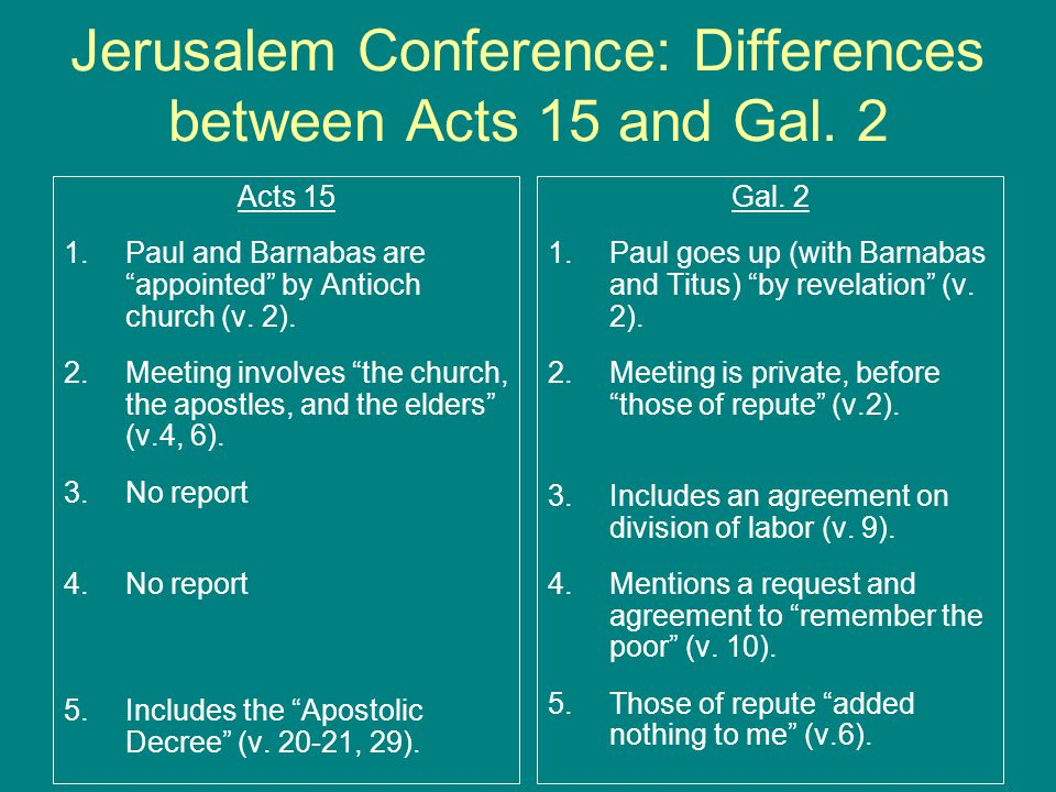 Jerusalem Conference: Differences between Acts 15 and Gal. 2
