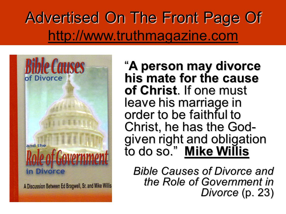 Advertised On The Front Page Of http://www.truthmagazine.com