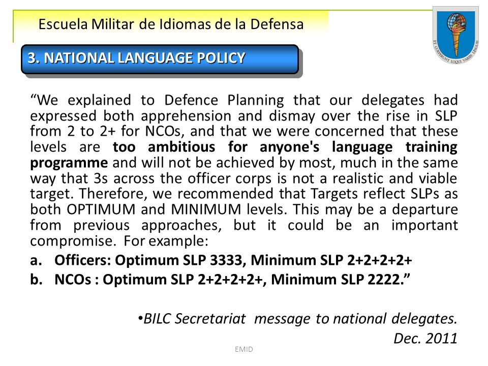 3. NATIONAL LANGUAGE POLICY
