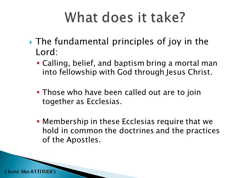 What does it take The fundamental principles of joy in the Lord: