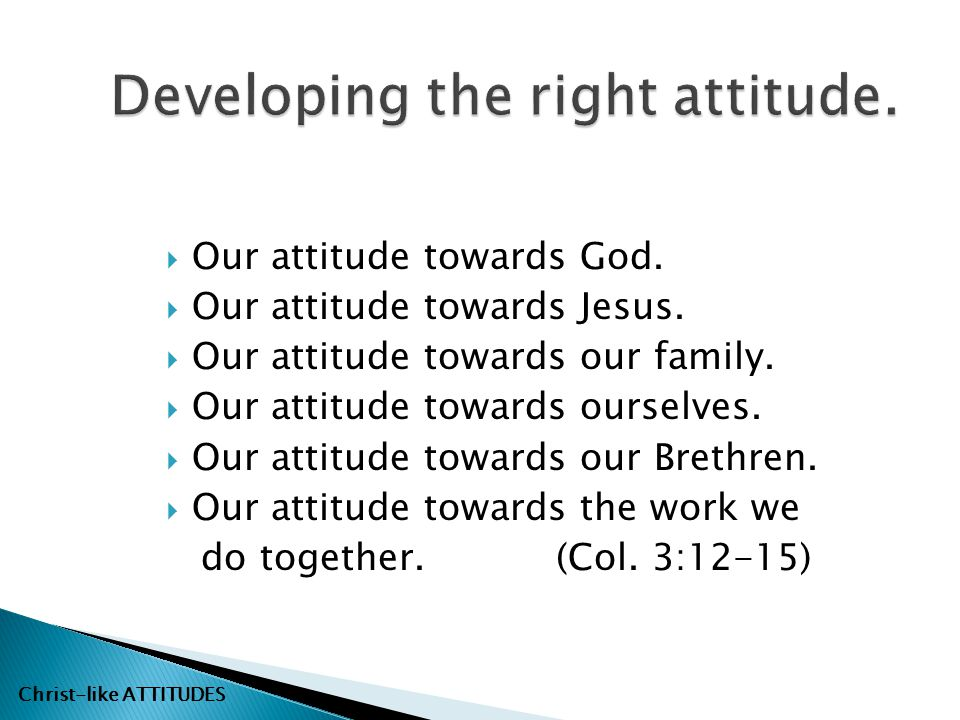 Developing the right attitude.